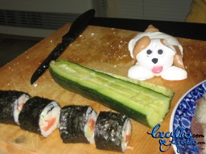 Sushi, a cucumber and the meringue dog