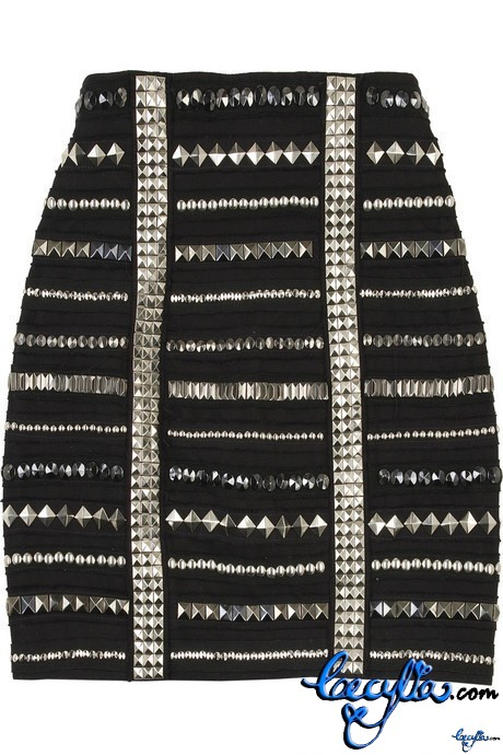 balmain studded miniskirt