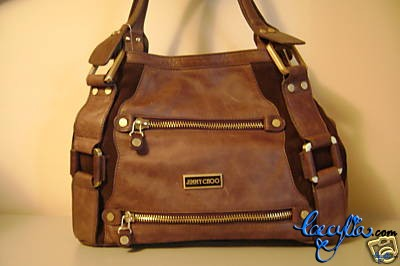 jimmy choo brown leather bag