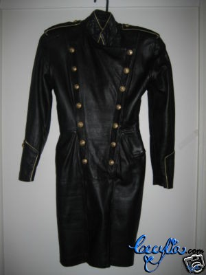blk leather military dress