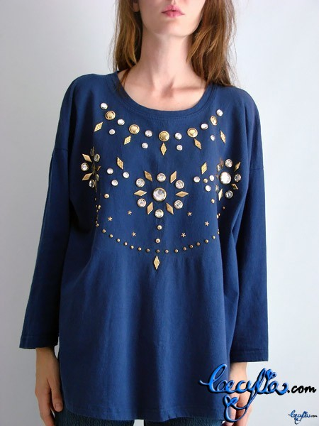 blue studded top