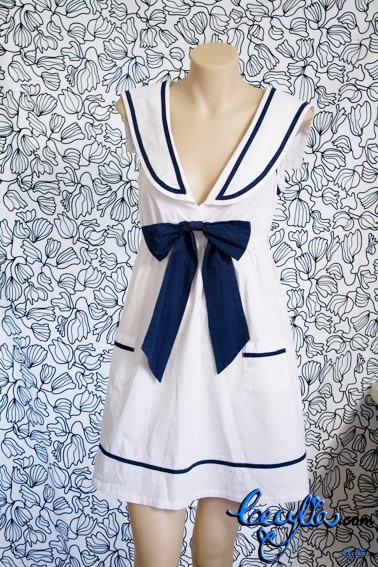 white blue sailor dress