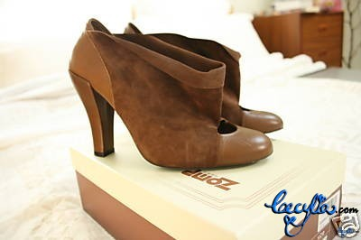 brown suede leather booties