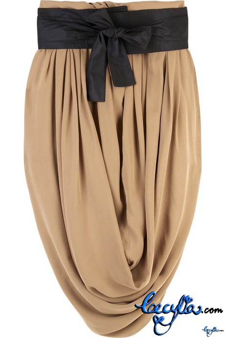 chloe silk draped skirt