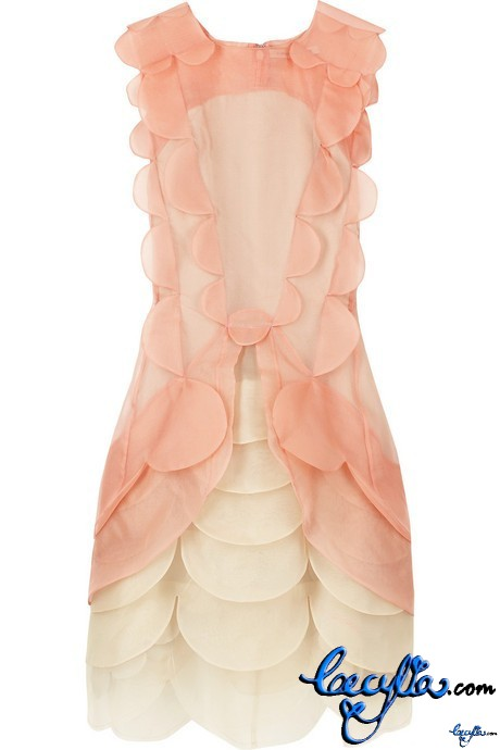 christopher kane scalloped silk dress