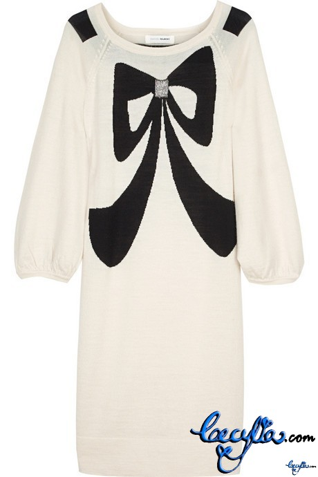 rachel gilbert bow wool minidress