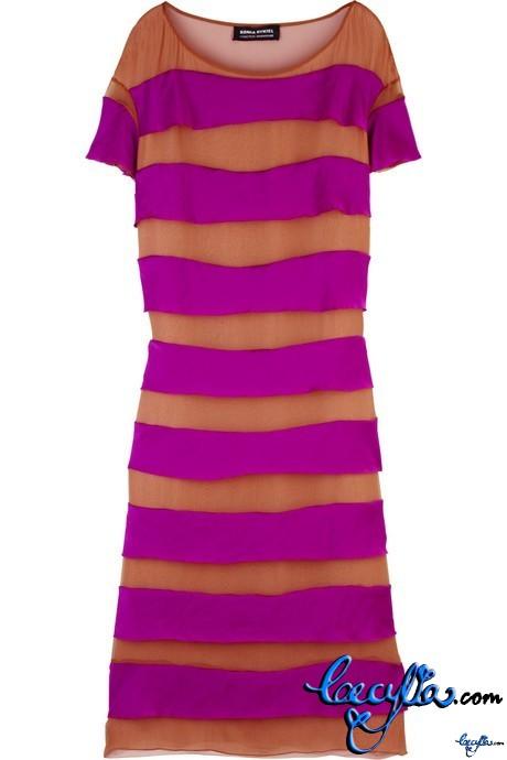 sonia rykiel striped silk chiffon dress
