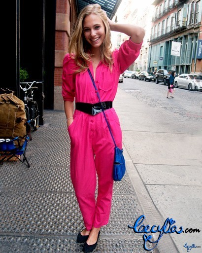 dayglo pink jumpsuit