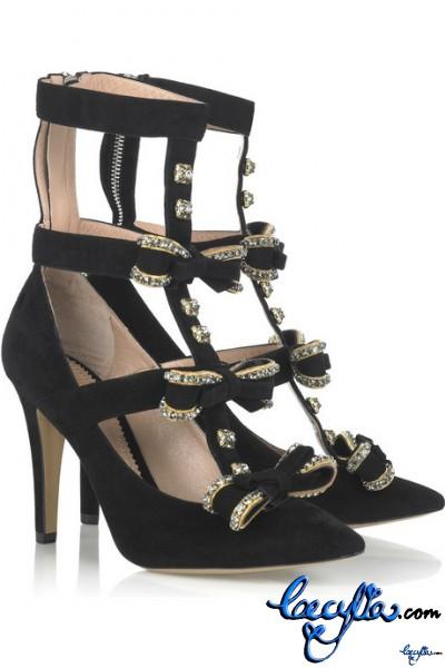 chloe bow embellished suede pumps