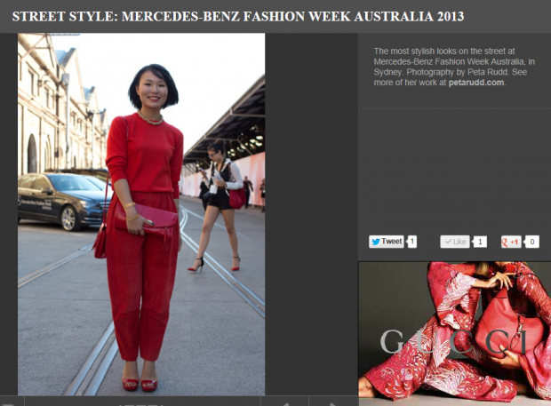HarpersbazaarMBFWA red outfit