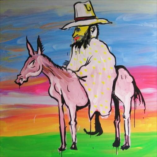 Ned Kelly in nightie on horse