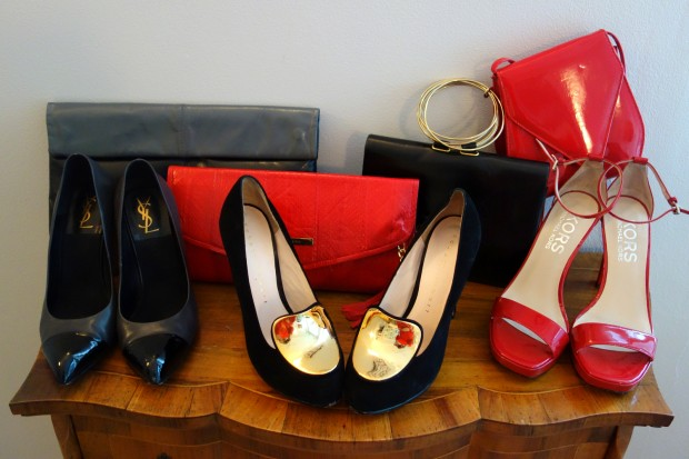 shoes, leather, patent, YSL, robert robert, styletread, michael kors, red, black, gold, clutch, constance roe, snake