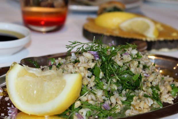 Chopped parsley salad with barley and dill