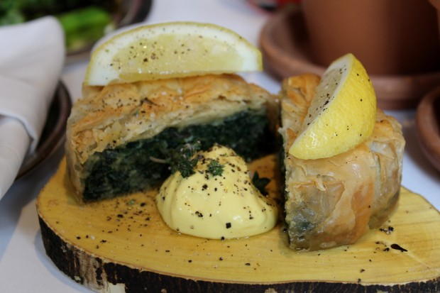 Silverbeet and nettle filo pie with spices and labneh